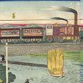 広重三代「河崎鶴見川蒸気車之図」