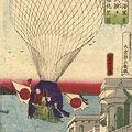 芳虎「東京築地海軍省軽気球試験従西洋館眺望図」