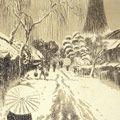 織田一磨「大阪風景 住吉(雪景)」