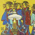 川上澄生「遊女と洋燈」