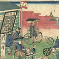 広重三代「東京繁栄流行の往来(品川)」