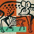 徳力富吉郎「鹿の親子」