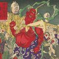 芳年「東京開化狂画名所 浅草観音年の市旧幣の仁王」