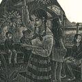 涌田利之「蔵書票 バスの少女」
