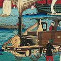 広重三代「横浜海岸鉄道蒸気車図」