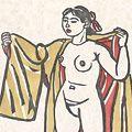 梅原龍三郎「着物をかかげる裸婦」