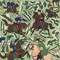 牧金之助「日露戦争組上ヶ第十二鳳凰城附近ノ激戦我軍コザック撃退之図」