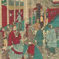 国利「東京名所の内 新橋鉄道館 蒸気車待合図」