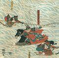 芳虎「武田方攻軍におよび山形三郎兵衛赤備を以てしんがり勇せんの図」