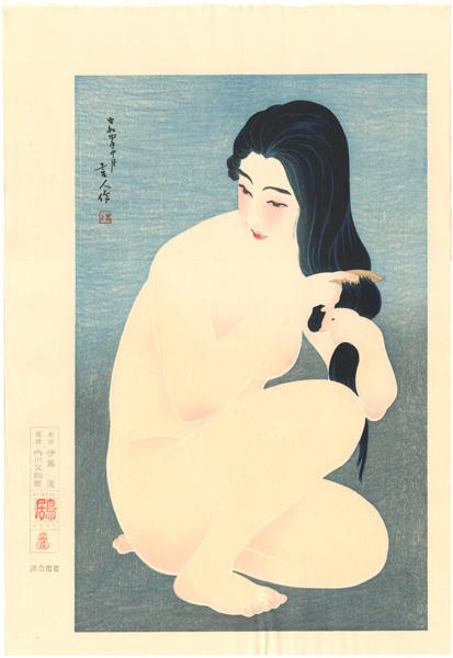 鳥居言人「裸婦髪梳き」/