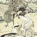 豊広「美人手習い図」