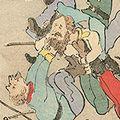 清親「日本万歳 百撰百笑 露兵の同死打 骨皮道人」