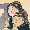 清親「日本万歳 百撰百笑 暴露製の安軍艦 骨皮道人」
