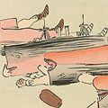 清親「日本万歳 百撰百笑 露艦の閉口 骨皮道人」