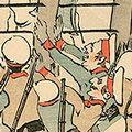 清親「日本万歳 百撰百笑 苦しい網頼み 骨皮道人」