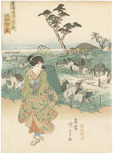 国貞初代「東海道五十三次之内 池鯉鮒ノ図」/