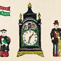 川西英「時計と人形(長崎人形と香港時計)」
