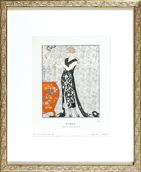 ジョルジュ・バルビエ「煙 ベールのイブニング・ドレス」/