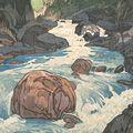 吉田博「日本アルプス十二題 黒部川」