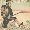 清親「日本万歳 百撰百笑 長足の進歩 骨皮道人」