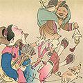 清親「日本万歳 百撰百笑 逃げ支度 骨皮道人」