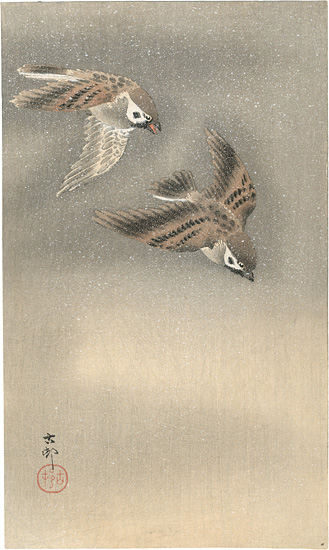 小原古邨(祥邨)「雪中の雀」/
