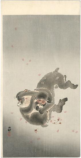 小原古邨(祥邨)「桜吹雪に小猿」/