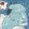 弦屋光溪「〈万歳浮世絵派五姿〉の内 歌川国芳 ~人かたまりで国芳の顔~」