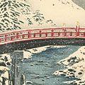 高橋松亭(弘明)「日光神橋の雪」