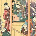 豊国三代「踊形容楽屋之図」