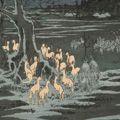 広重初代「名所江戸百景 王子装束ゑの木大晦日の狐火」