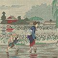 清親「不忍池畔雨中図」