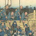 広重初代「東海道五十三次之内 日本橋 行烈振出」