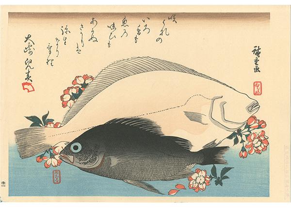 広重初代「魚づくし ひらめ・めばるに桜【復刻版】」/