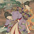 周延「江戸風俗 朧春花之夜桜」