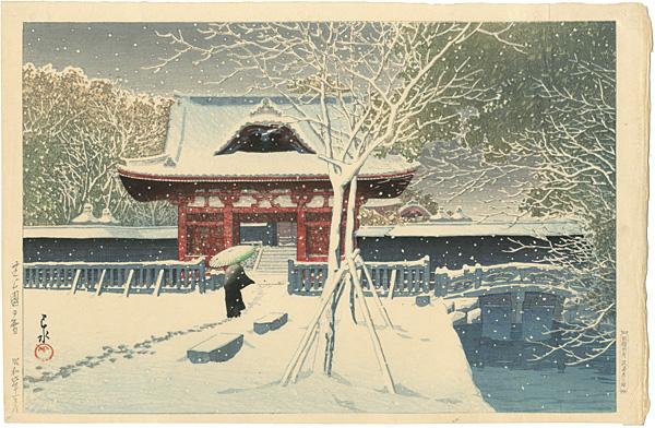 川瀬巴水「芝公園の雪」/