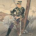 耕濤「日本魂 斥候東端林平 重傷負けて当奮闘敵兵を走す図」