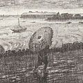 織田一磨「東京風景 品川の雨」