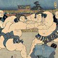 国貞二代「勧進大相撲取組之図」